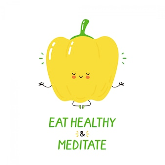 Cute happy funny bell pepper meditate. vector cartoon character illustration design.isolated. meditation,healthy food concept