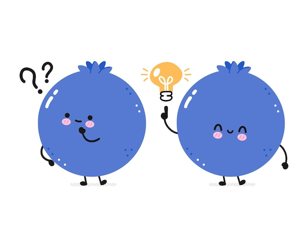 Cute happy funny blueberry with question