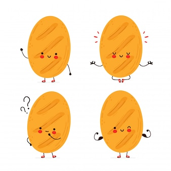 Cute happy funny bread set collection.  cartoon character hand drawing style illustration. isolated on white background