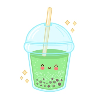 Cute happy funny bubble tea cup