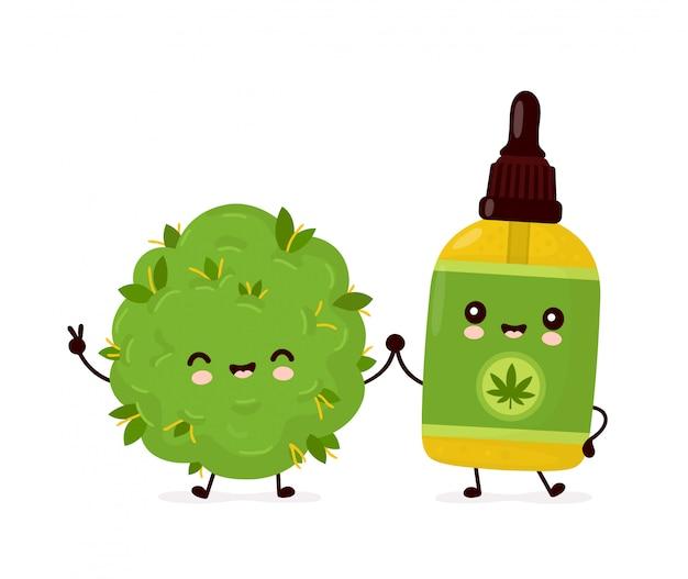 かわいい幸せな面白い大麻cbdオイルボトルと雑草の芽。漫画のキャラクターイラストアイコンデザイン。分離されました。
