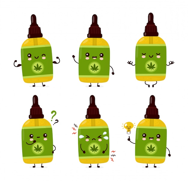 Cute happy funny cannabis cbd oil bottle set collection.