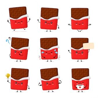 かわいい幸せな面白いチョコレートバーセットのコレクション。漫画キャラクターイラストアイコンデザイン。白い背景で隔離