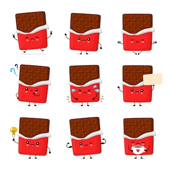 Cute happy funny chocolate bar set collection.  cartoon character illustration icon design.isolated on white background