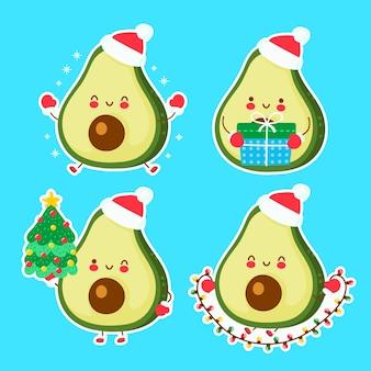 かわいい幸せな面白いクリスマスアボカド。漫画のキャラクターの手描きスタイルのイラスト。クリスマス、新年のコンセプト