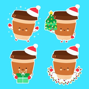 Cute happy funny christmas coffee set collection.  cartoon character hand drawn style illustration. christmas, new year concept