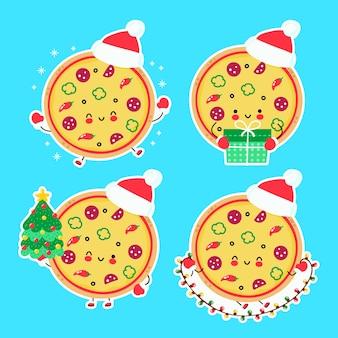 귀여운 행복 재미 크리스마스 피자 컬렉션을 설정합니다. 만화 캐릭터 손으로 그린 스타일 그림. 크리스마스, 새 해 개념