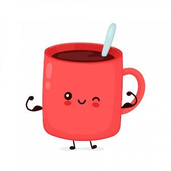 かわいい幸せな面白いコーヒー・マグは筋肉を示しています。漫画キャラクターイラストアイコンデザイン。白い背景で隔離