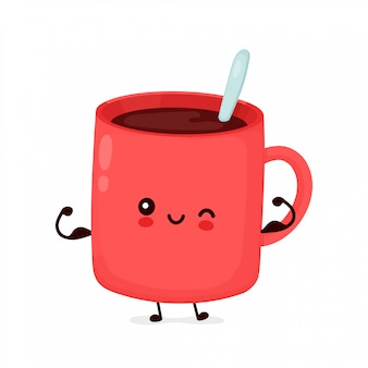 Cute happy funny coffee mug show muscle.  cartoon character illustration icon design.isolated on white background