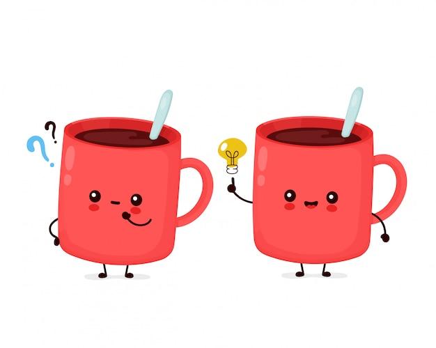 물음표와 아이디어 전구 귀여운 행복 재미있는 커피 잔. 만화 캐릭터 일러스트 아이콘 design.isolated