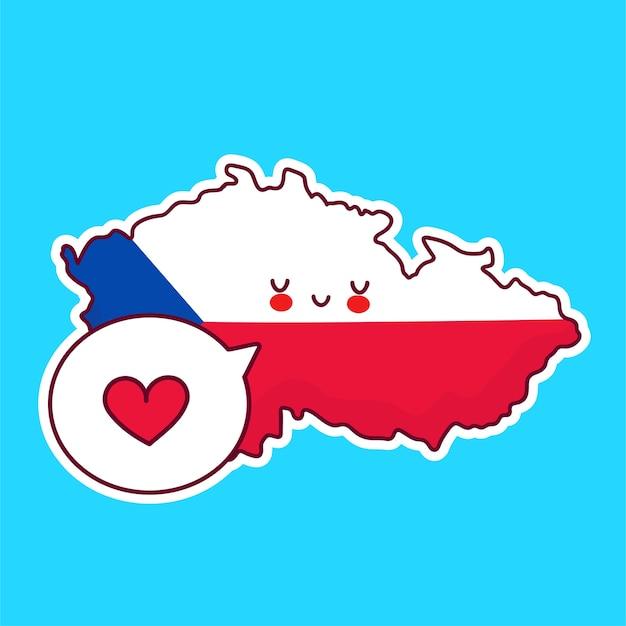 かわいい幸せな面白いチェコ共和国の地図と吹き出しの心を持つ旗のキャラクター。フラットライン漫画かわいいキャラクターイラストアイコン。チェコ共和国の概念