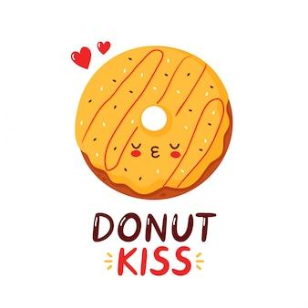 Милый счастливый смешной пончик. мультипликационный персонаж рука рисунок стиль иллюстрации. изолированные на белом фоне пончик поцелуй карты