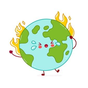 かわいい幸せな面白い地球惑星のキャラクターを燃やします。漫画キャラクターイラストアイコンデザイン。白い背景で隔離されました。地球温暖化の概念