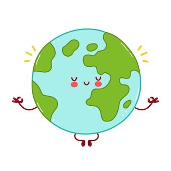 かわいい幸せな面白い地球惑星のキャラクターが瞑想します。漫画のキャラクターイラストアイコンのデザイン。白い背景で隔離