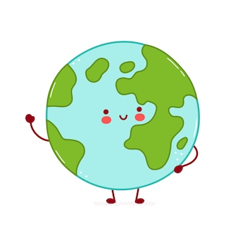 Cute happy funny earth planet character.