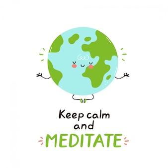 かわいい幸せな面白い地球惑星が瞑想します。ベクトル漫画のキャラクターイラストデザイン。分離されました。瞑想のコンセプト