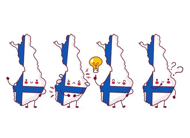 Симпатичная счастливая смешная финляндская карта и набор символов флага