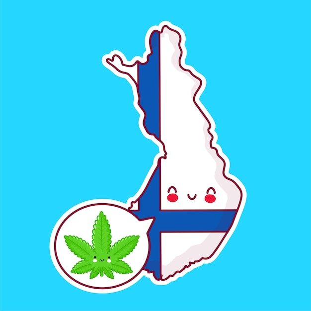 Cute happy funny finland  map and flag character Premium Vector