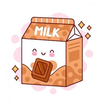 Милый счастливый смешной ароматизированный шоколадное молоко