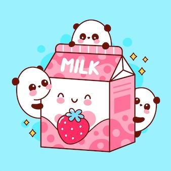 Симпатичные счастливые смешные ароматизированные клубничное молоко и играющие панды