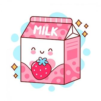 Милое счастливое смешное ароматизированное клубничное молоко. плоская линия мультяшныйа каваи значок иллюстрации персонажа.