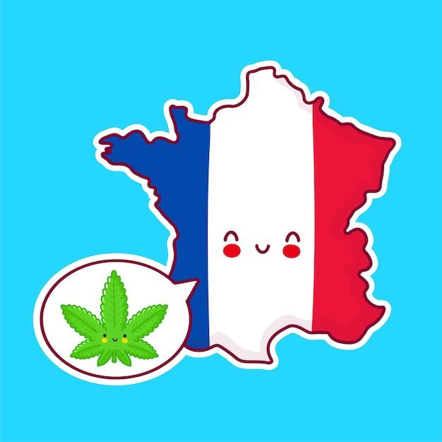 귀여운 행복 재미 프랑스지도 및 플래그 문자