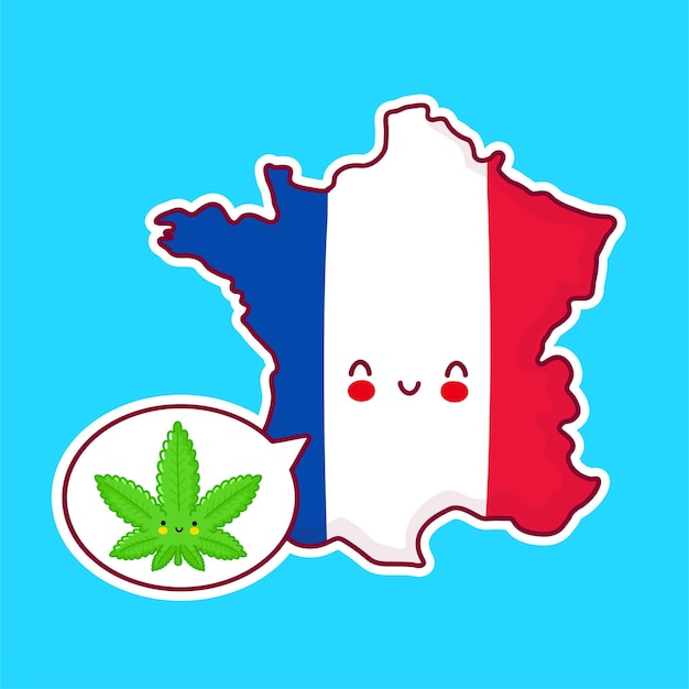 Cute happy funny france map and flag character