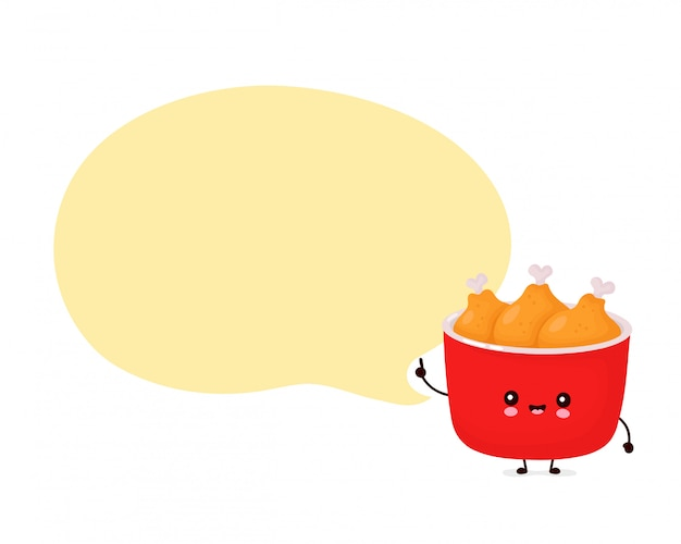 Cute happy funny fried chicken bucket with speech bubble.   cartoon character illustration icon design.isolated