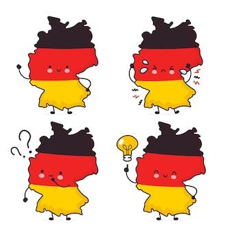Симпатичные счастливые смешные германия карта и набор символов флага. линия значок иллюстрации персонажа мультфильма каваи. на белом фоне. концепция германии