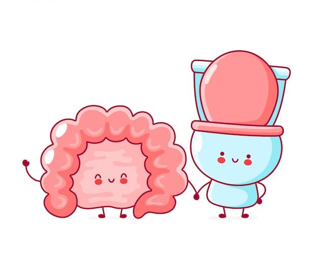 Cute happy funny human intestine organ and toilet.
