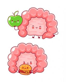 Cute happy funny human intestine organ.