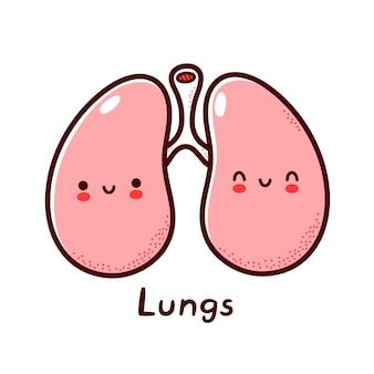 귀여운 행복 재미 인간의 폐 기관 문자