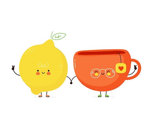 かわいい幸せな面白いレモンとティーカップ。漫画のキャラクターのイラストアイコンデザイン。白い背景で隔離v