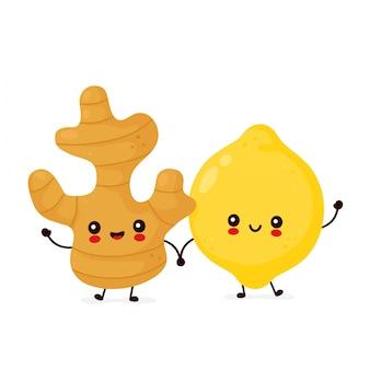 かわいい幸せな面白いレモンフルーツと生姜。漫画のキャラクターイラストアイコンデザイン。分離されました。