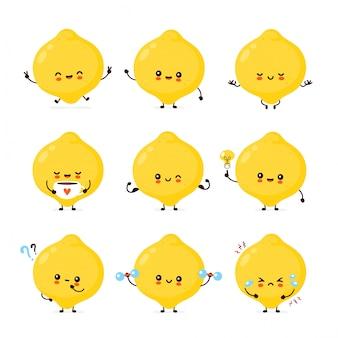 Cute happy funny lemon fruit set collection.
