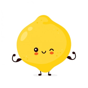Cute happy funny lemon fruit show muscle.  cartoon character illustration icon design.isolated on white background