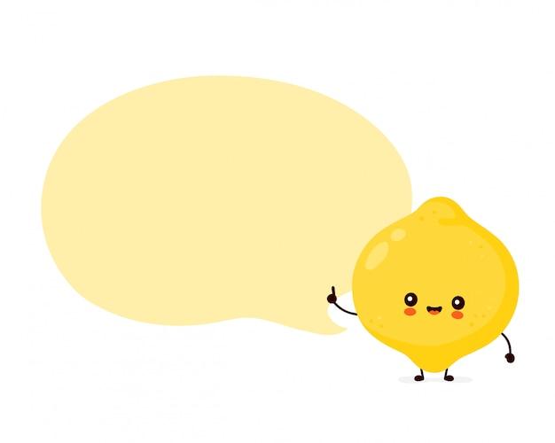 Милый счастливый смешной плодоовощ лимона с пузырем речи. дизайн значка иллюстрации персонажа из мультфильма. изолированный