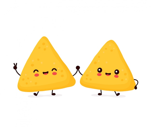 Cute happy funny nachos couple.   cartoon character illustration icon design.isolated