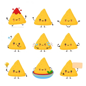 Cute happy funny nachos set collection.  cartoon character illustration icon design.isolated on white background