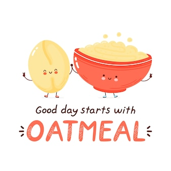 Cute happy funny oatmeal bowl and oat flake