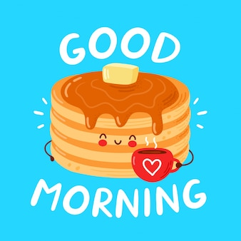 Cute happy funny pancakes. good morning card