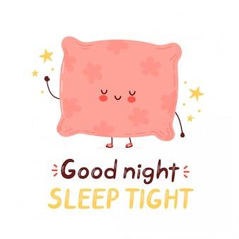 귀여운 행복 재미 베개. 만화 캐릭터 손 그리기 스타일 일러스트입니다. 흰 배경에 고립. 잘자요 꽉 카드