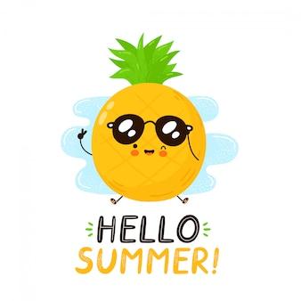 Милый счастливый смешной фрукт ананаса. привет летняя открытка. дизайн значка иллюстрации персонажа из мультфильма. изолированный на белой предпосылке