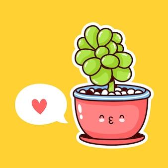 연설 거품 냄비에 귀여운 행복 재미있는 식물