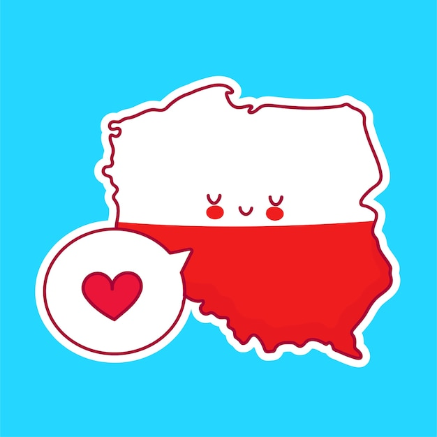 Cute happy funny poland map and flag character with heart in speech bubble.   line cartoon kawaii character illustration icon. poland concept
