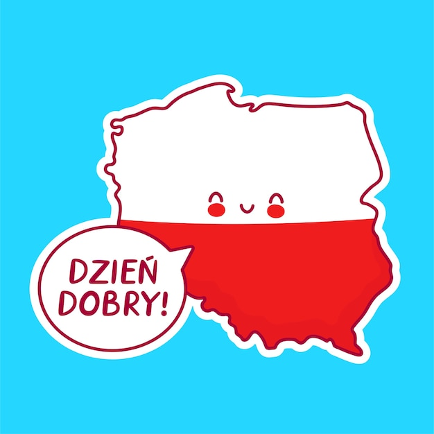 Cute happy funny poland map and flag character