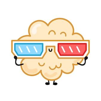 Милый счастливый смешной попкорн в очках 3d. вектор рисованной мультяшный каваи персонаж иллюстрации наклейка значок логотипа. изолированные на белом фоне. милый счастливый попкорн, 3d очки мультипликационный персонаж концепции