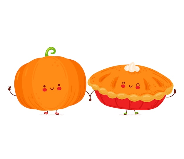 Cute happy funny pumpkin and pie. isolated on white background. cartoon character hand drawn style illustration
