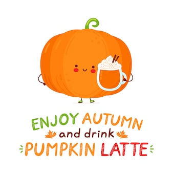 Cute happy funny pumpkin with latte mug. isolated on white background. cartoon character hand drawn style illustration. enjoy autumn and drink pumpkin latte card