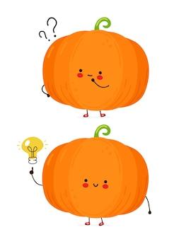 疑問符とアイデアの電球でかわいい幸せな面白いカボチャ。白い背景で隔離されました。漫画のキャラクターの手描きスタイルのイラスト
